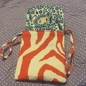Flipped Bird Bags - Teal & Orange Flipped Bird Reversible Canvas Purse